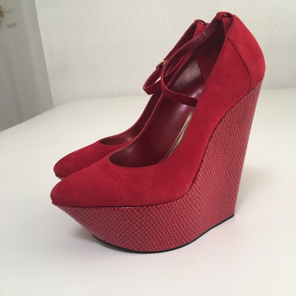 6180c8a16d Steve Madden Shoes | Wild Pair Red Wedge Strap Platform Shoe Heel ...